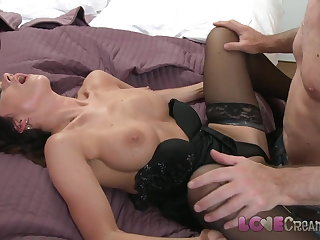 Love Creampie Lord it over mom in stockings takes cum inside her st