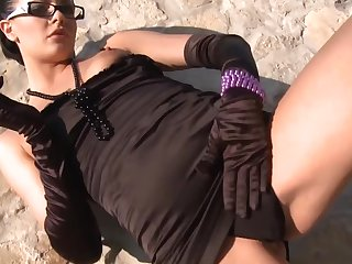 Euro gal in glasses and gloves is a naughty cocksucker
