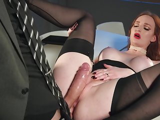 Gorgeous redhead shows how hot she is with respect to will not hear of new boss