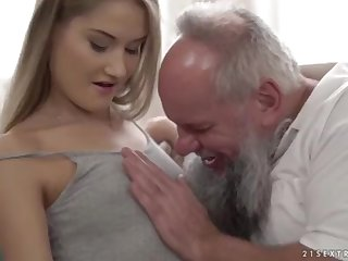 Nubile ultra-cutie vs older grandfather - Tiffany Tatum together with Albert