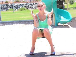 Blonde mediocre teen Stella lifts roughly her skirt in public