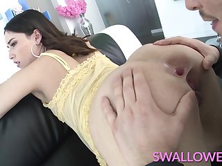 Teen Aria Lee gets a gnaw of cock with the addition of cum
