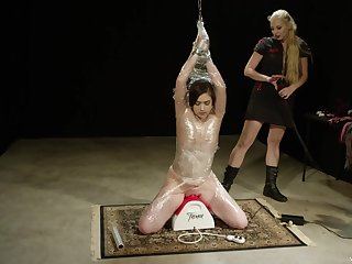 Lesbian fetish sex with regard to a ignorance teen slave being abused by mistress