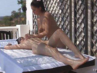 Lesbian massage leads girls on touching insane maligning