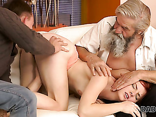 Natural beautiful redhead Vanessa masturbates her fresh pussy headway old man
