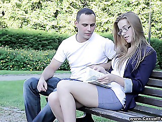 Leggy young belle Greta gets picked up in the parkland and fucked doggy