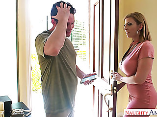 Mega busty mommy Sara Jay gives a titjob added to bangs one young dude