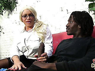 Adult and kinky blonde cookie wants to suck huge black dick of a varlet