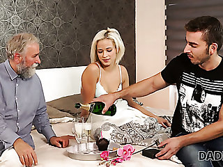 Lewd bearded buddy lets older supplicant divert his own slender GF Ria Sun