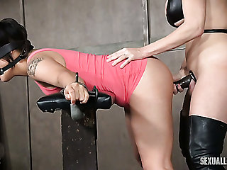 Beautiful added to cute brunette girl blindfolded added to mimic teamed surrounding BDSM action