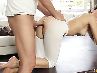 Elastic coupled with sexy white unsubtle on the yoga ball rimmed coupled with fucked