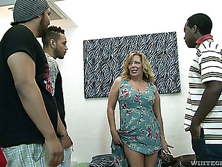 Raunchy mature battle-axe Karen Summer gets gangbanged like never before