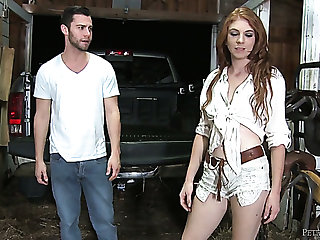 Gamine titless pale slut Madelyn Rose is ready to be fucked in the stable
